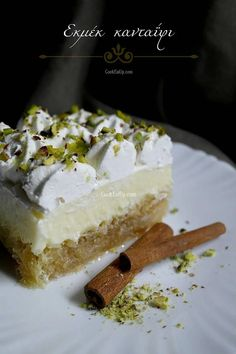 ekmek kantaifi Greek Sweets, Greek Desserts, Summer Desserts, Greek Recipes, Candy Recipes, Dessert Recipes, Keto Chocolate Recipe, Greek Pastries, Kitchens