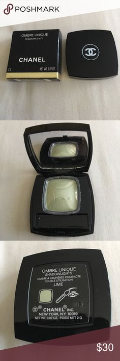 CHANEL Ombre Unique Eye Shadow Lime Never used.  Chanel ombré unique shadow lights in lime.  There is no brush and the shadow has a small scratch mark on it from taking it out of the package.  The shadow has never been touched. CHANEL Makeup Eyeshadow