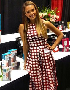 Summertime chic: Jessica Alba has become the latest A-lister to step out in the red-and-white checked ASOS.com dress, currently priced at $93.34