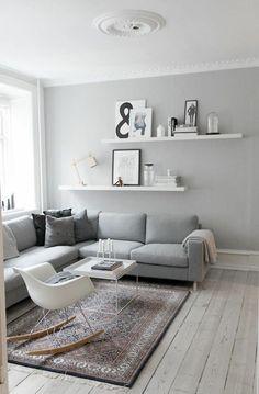 wohnzimmerwand ideen in grau wandfarben