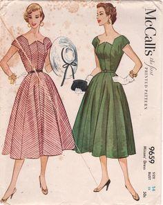McCalls  9659  1950s Misses  Dress Pattern Full Skirt  Zig Zag Neckline Vintage Sewing Pattern by mbchills