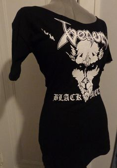 Venom black metal band shirt - customized and reconstructed into a ladies fitted 1/2 sleeve top with a scoop neck/boat neck. Many sizes available. Come check out all of our DIY clothing and upcycled band shirts. Lots of sales, discounts and giveaways! For fans of Classic Rock, Heavy Metal, Black Metal, Horror, Grunge, Punk Rock, etc.. This top all yours for only $30! Made to your size! We ship internationally!