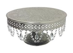 """GiftBay 844-14R Wedding Cake Stand Pedestal Round 14"""", Aluminum Silver with Glass Clear Crystals"""
