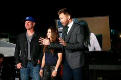 Clint Bowyer driver of the 5hour Energy Toyota Danica Patrick driver of the GoDaddy Chevrolet and television personality Joel McHale perform live for...