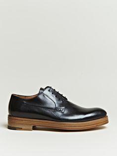 Dries Van Noten Men's Wood Grain Sole Derby Shoes