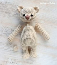 Cuddle Me Bear Amigurumi Pattern - assembly This little crochet bear is always ready for a sweet and squishy hug! Create one in your favorite color :) The Cuddle Me Bear Amigurumi Pattern will take y Mini Amigurumi, Amigurumi Animals, Crochet Patterns Amigurumi, Amigurumi Doll, Crochet Animals, Crochet Teddy Bear Pattern, Crochet Doll Pattern, Crochet Dolls, Cute Crochet