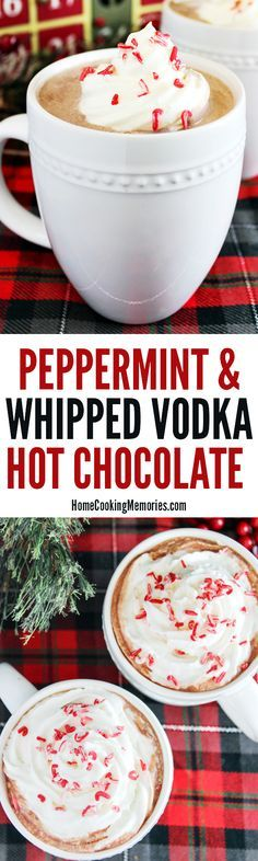 Oh, YES! A cozy drink for the adults: Homemade Peppermint Hot Chocolate recipe with a cocktail twist: whipped vodka! This warm holiday drink is so good & easy to make. Even better topped with whipped cream & peppermint sprinkles.