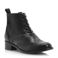 BERTIE LADIES Black PERON - Leather Brogue Ankle Boot | Dune Shoes Online