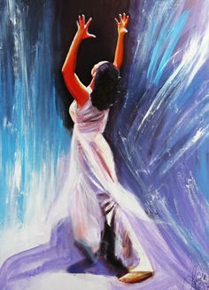 Woman praising the Lord in dance with hands lifted to heaven. Prophetic art painting.