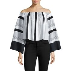 KENDALL + KYLIE Jet Set to Tokyo Off-The-Shoulder Striped Top ($51) ❤ liked on Polyvore featuring tops, apparel & accessories, white black, black white striped top, bell sleeve tops, black and white off the shoulder top, striped crop top and striped off-the-shoulder tops
