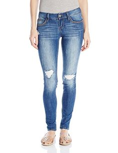 a360614645e Amazon.com  dollhouse Women s Parker Destructed Skinny Jean