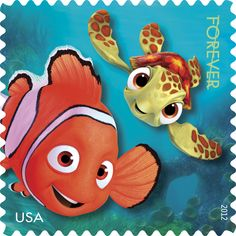 "Father-son relationships reach new depths in ""Finding Nemo,"" the story of an overprotective clownfish named Marlin who overcomes his own fears to rescue his son, Nemo, from a dentist's aquarium. This stamp was released in 2012."