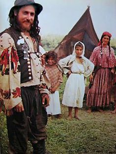 "A gypsy Kalderari family in Romania. A photo from a book ""Tsiganes, Nomades Mysteriex"", 1971 Gypsy Men, Gypsy Life, Gypsy Soul, Bohemian Gypsy, Folk Costume, Costumes, Costume Ideas, Santa Sara, Gypsy People"