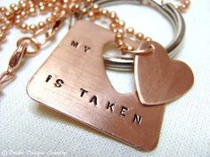 Taken Heart Couple Necklace and Couple Keychain... Interlocking Heart Set for Couples...