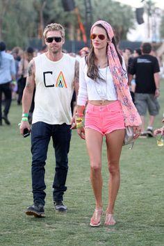Brazilian model Alessandra Ambrosio has fun at the Coachella