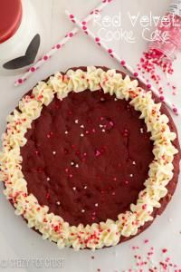 Red Velvet Cookie Cake is the best of both worlds....red velvet cake mix and a giant cookie! Your family will love this!