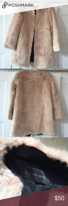 Zara faux fur coat Super soft and plush faux fur coat by Zara. Only worn a few times. Hook and eye closure and vegan leather interior trim. Really beautiful. Zara Jackets & Coats