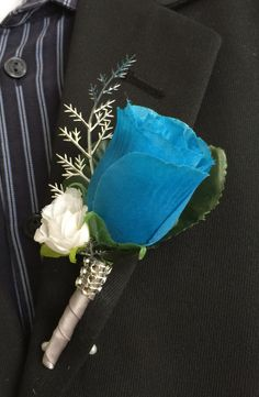 Boutonniere-Turquoise rose bud with white mini rose