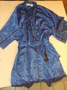 Vintage Victoria's Secret Robe Gold Label blue/black by VintagelaceBoutique on Etsy