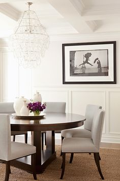 Interior designer Cari Berg featured Sateen Club 4950 White Iris in the dining room of a client's home. Wall Dining Table, Dining Room Storage, Reclaimed Wood Dining Table, Gray Dining Chairs, Dining Nook, Dining Room Walls, Dining Room Design, Dining Set, Living Room