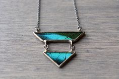 Teal Geometric Butterfly Wing Necklace  Papilio by HartVariations