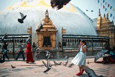 Photo of the Day: Braving the Pigeons in Nepal | A young girl holds her ground amidst a flock of pigeons in Kathmandu, #Nepal on May 10, 2013. (Elliot Scott/Flickr)