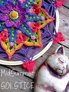 Ravelry: MidSummer Solstice pattern by Jen Tyler Crochet Mandala Pattern, Crochet Flower Patterns, Crochet Squares, Crochet Flowers, Granny Squares, Crochet Yarn, Crochet Stitches, Free Crochet, Cascade Yarn