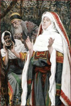 Originally painted as a watercolor, French artist and illustrator James Tissot captures the moment the blessed Virgin Mary recites the Magnificat while ..