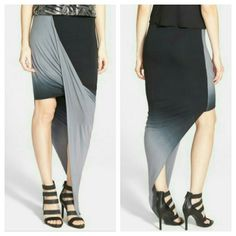 """Dirty Ballerina Ombre Front draped Skirt The floor-sweeping hemline of this body-con maxi skirt is pinned at the waist on one side for a dramatically draped front that showcases your legs and highlights the monochrome ombre motif. - 21 1/2"""" to shortest point; 49"""" to longest (size Medium) - Lined,  94% rayon, 6% spandex Made in USA Dirty Ballerina Skirts"""