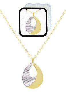 Gargantilha folheada a ouro c/ pingente em forma de gota c/ aplique prateado (acompanha caixinha em acrílico)-Clique para maiores detalhes