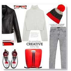 Creativity. by gul07 on Polyvore featuring Monki, Dr. Martens, Neiman Marcus, Casetify and WALL