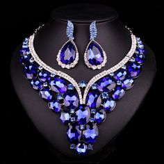 New Luxury Gold Plated Blue Crystal Dubai Bridal Jewelry Set For Brides Necklace Earring Wedding Party Accessories For Women Heart Jewelry, Jewelry Art, Women Jewelry, Unique Jewelry, Gold Jewelry, Jewellery Sale, Crystal Jewelry, Jewelry Design, High Heels Boots