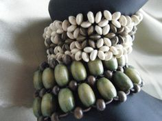 Boho Chic Wood Seeded Bracelets   Vintage Stretch by gammiannes