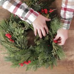 No artificial materials here. Use all real plants for a picture-perfect fresh DIY Christmas wreath. This fresh evergreen wreath is the real deal. Gather fresh evergreen sprigs and berries to create this lively and festive decor for your front door. Diy Christmas Decorations For Home, Diy Christmas Lights, Prim Christmas, Holiday Wreaths, Christmas Crafts, Christmas Ornaments, Fresh Christmas Wreaths, Christmas Ideas, Christmas Bowl