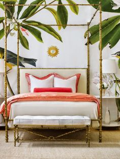 Channel #TheBeverlyHillsHotel martinique #wallpaper with a similar palm print for a glamorous, old Hollywood aesthetic.