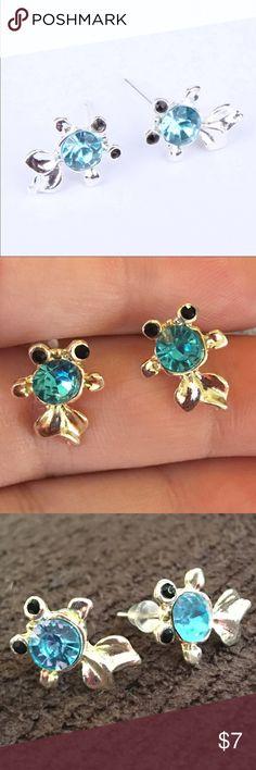 Fish Earrings Super cute silver toned earrings with blue rhinestone. New in package. Jewelry Earrings