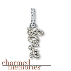 "The word ""love"" is adorned with SWAROVSKI ELEMENTS in this shimmering dangle charm from the Charmed Memories® collection. The charm is styled in sterling silver."