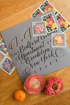 modern wedding invitations - photo by Haley Sheffield Photography event and floral design by Juli Vaughn Designs http://ruffledblog.com/bright-modern-NYC-wedding