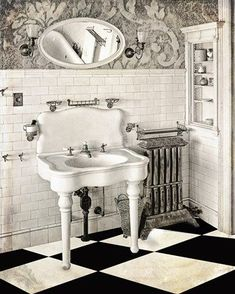 This is what happens when you combine shabby chic home decor and Victorian home decor. Love the distressed wood with white black and white theme. Vintage Bathroom Decor, Vintage Bathrooms, Diy Bathroom Decor, Simple Bathroom, Bathroom Interior, Bathroom Sets, Brown Bathroom, Small Bathrooms, Bathroom Canvas