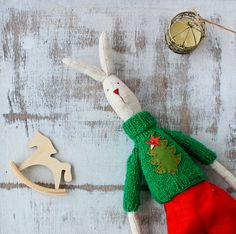 Bunny+rabbit+with+christmas+stocking++by+MiracleInspiration