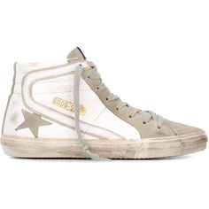 Golden Goose Deluxe Brand 'Slide' hi-top sneakers ($495) ❤ liked on Polyvore featuring shoes, sneakers, white, golden goose sneakers, leather high top sneakers, white high top shoes, star sneakers and flat sneakers