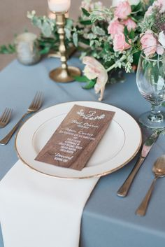 Individual wooden menus for each setting is absolute perfection with gold rimmed plates & grey linens #Cedarwoodweddings Meghan+Troy :: 10.08.2016 | Cedarwood Weddings