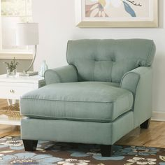 Signature Design by Ashley Kylee Lagoon Blue Fabric Chaise Lounge - Overstock™ Shopping - Great Deals on Signature Design by Ashley Living Room Chairs