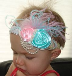 Vintage inspired Cotton Candy sequins headband by KazzyKouture