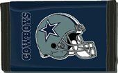 """Dallas Cowboys Nylon Wallet by Rico. Save 25 Off!. $5.23. Officially licensed by the National Football League. 3 sewn in pockets and 4 plastic display pockets. Made of durable nylon with helmet logo print. Measures approximately 4 7/8"""" x 3 1/8"""". Features vibrant team colors and logos. Keep your money and valuables in this classic surf style nylon wallet. Feature money compartment, three inner compartments, three photo sleeves, hook and loop fastener closure."""