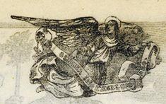 """Xilografía en texto de un ángel con un lazo que pone """"gloria in excelsis deo"""""""