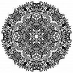Circle lace ornament, round ornamental geometric doily pattern, black and white…