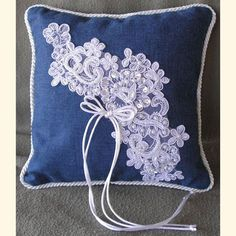 Denim and Lace Pillow