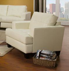 Samuel Contemporary Leather Chair White