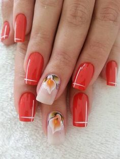 Чарующий красный маникюр - Дизайн ногтей (49 фото)